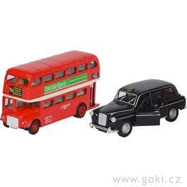 Autíčka autobus ataxi Londýn sezpětným natahováním