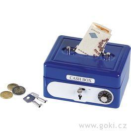 Plechová pokladnička naklíček – Trezor modrý