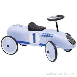 Odrážedlo – odstrkovadlo modrá závodnička, gumová kola