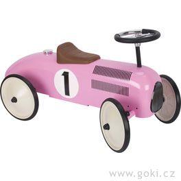Odrážedlo – odstrkovadlo světle růžová závodnička, gumová kola
