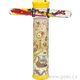 Kaleidoskop smagickou hůlkou aLEDsvětlem pirát, 15cm
