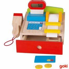 Dětská dřevěná multifunkční pokladna +scanner, kreditní karta, kalkulačka, displej