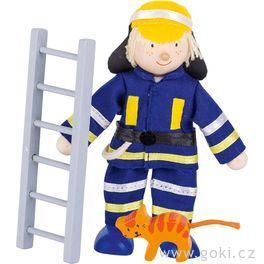 Panenka dodomečku – hasič sežebříkem