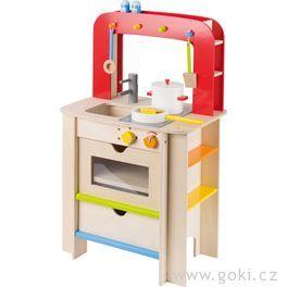 Moderní dřevěná kuchyňka spříslušenstvím, 7dílů