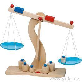 Dřevěná váha skovovými miskami + 6těžítek