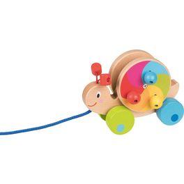 Duhový šnek –tahací hračka zedřeva