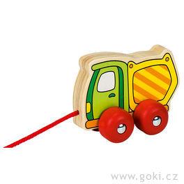 Dřevěná tahací hračka – nákladní autíčko vyklápěč