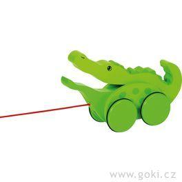 Dřevěné tahací zvířátko nakolečkách – Krokodýl Kroki sotevírací pusou