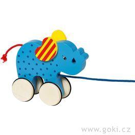 Dřevěná tahací hračka – slon Basjo