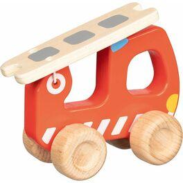 Hasiči sežebříkem, malé dřevěné autíčko
