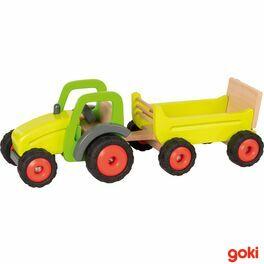 Zelený traktor svlečkou, 45cm