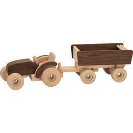 Dřevěný traktor svlečkou – Goki nature