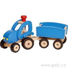 Dřevěné auto traktor svlečkou, hračka prokluky