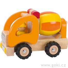 Autíčko – míchačka, dřevěná hračka prokluky