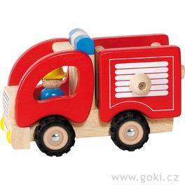 Autíčko – hasiči, dřevěná hračka prokluky
