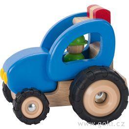 Dřevěný traktor, hračka prokluky