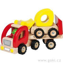 Dřevěné tahací auto snakladačem