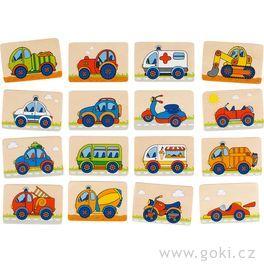 Dřevěné pexeso – dopravní prostředky, 32díly