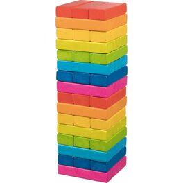 Zábavná hra– Dřevěná věž Jenga duhová, 48dílů