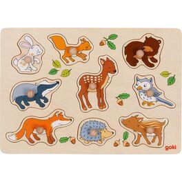 Zvířátka zlesa –puzzle sdřevěnými úchytkami