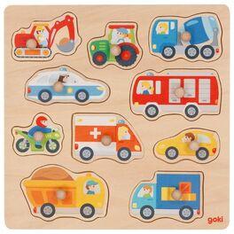 Dopravní prostředky –vkládací puzzle sobrázky napozadí, 10dílů