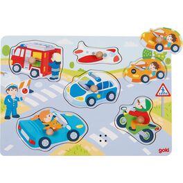 Dřevěné puzzle sezvukem –Auto, letadlo, policie…, 6dílů