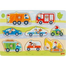 Dopravní prostředky –puzzle sdřevěnými úchytkami