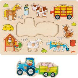 Traktor svlečkou – vkládací puzzle súchytkami, 9dílů
