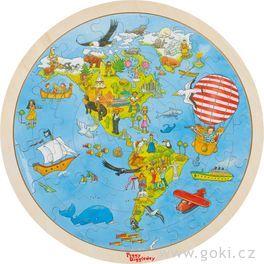 Oboustranné puzzle – Cesta kolem světa, 56dílů