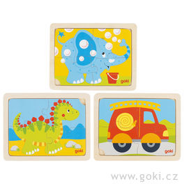 Dřevěné puzzle slůně, dinosaurus ahasiči