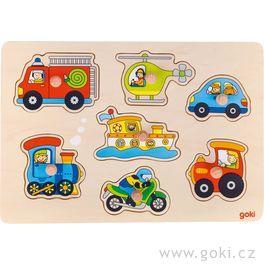 Dřevěné puzzle súchytkami – dopravní prostředky, 7dílů