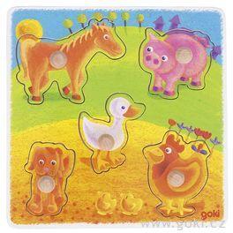 Vkládací puzzle – zvířátka nastatku, 5dílů