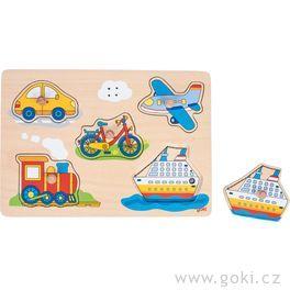 Dřevěné puzzle sezvukem – dopravní prostředky, 5dílů