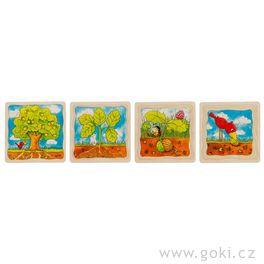 Strom – vývojové vrstvené puzzle zedřeva, 4vrstvy, 44díly