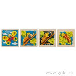 Housenka – vývojové vrstvené puzzle zedřeva, 4vrstvy, 44díly