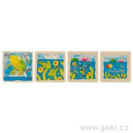 Žába – vývojové vrstvené puzzle zedřeva, 4vrstvy, 44díly