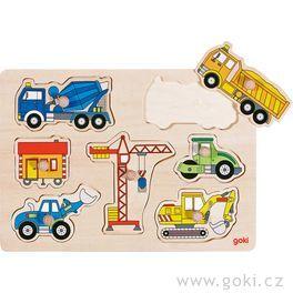 Stavební auta – dřevěné puzzle pronejmenší