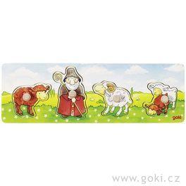 *AKCE* Puzzle sdřevěnými úchytkami – Ovčák ajeho ovečky