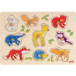 Dřevěné puzzle súchytkami – Lesní zvířátka, 9dílů
