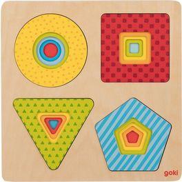Vícevrstvé puzzle – geometrické tvary, 16dílů