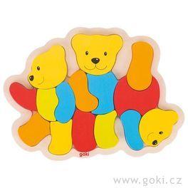Dřevěné puzzle Tři medvídci, 15dílů