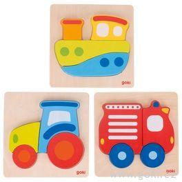 Vkládací dřevěné puzzle se4díly  – loď, traktor, hasiči