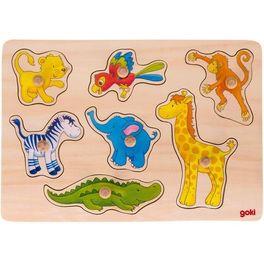 Dřevěné puzzle súchytkami – Safari, 7dílů