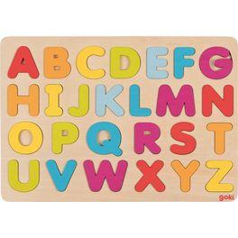 Dřevěné vkládací puzzle – abeceda, 26dílů