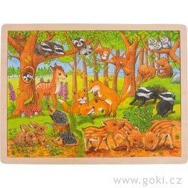 Zvířecí děti vlese – dřevěné puzzle, 48dílů