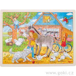 Dřevěné puzzle – Peggy nafarmě, 96dílů