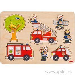 Puzzle sdřevěnými úchytkami – hasiči, 7dílů