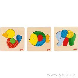 Dřevěné puzzle vrámečku – Kačenka, slon, rybka