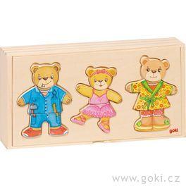 Rodina medvídci – oblékací puzzle zedřeva, 12motivů, 36dílů