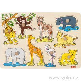 Puzzle sdřevěnými úchytkami – Africká zvířátka
